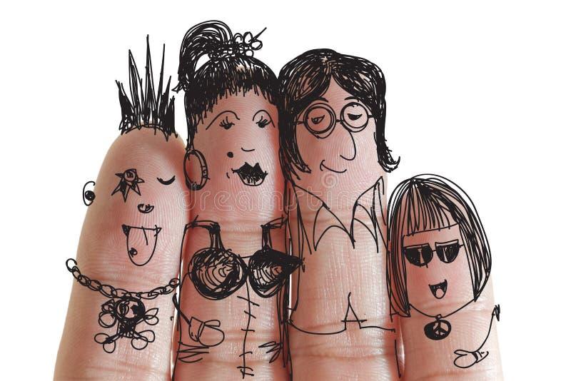 Famiglia felice con lo smiley verniciato sulle barrette umane immagine stock libera da diritti