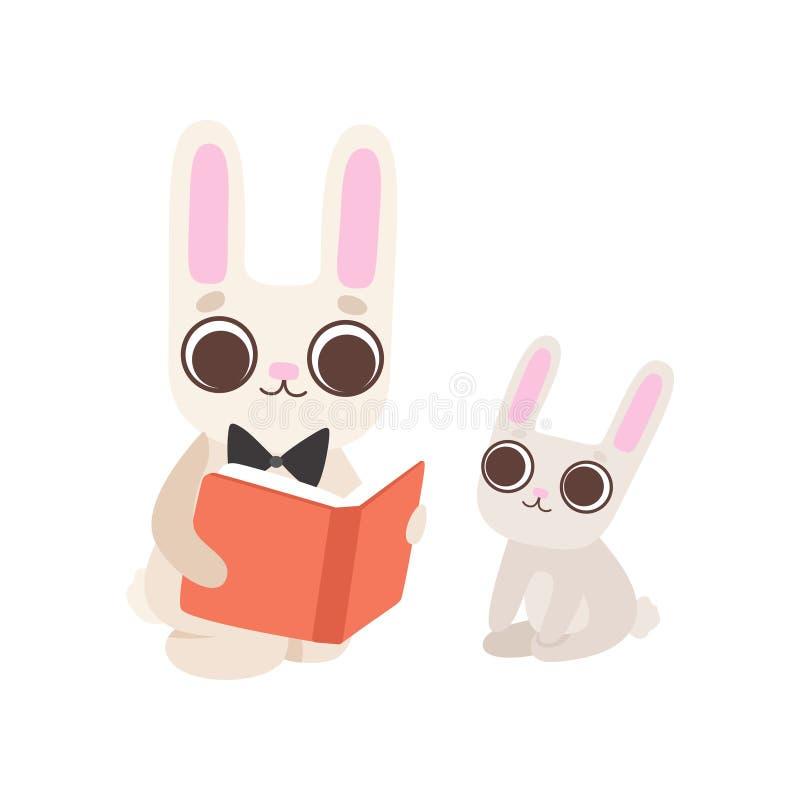 Famiglia felice dei coniglietti, padre Rabbit Reading Book al suo bambino, illustrazione sveglia di vettore dei caratteri delle l royalty illustrazione gratis