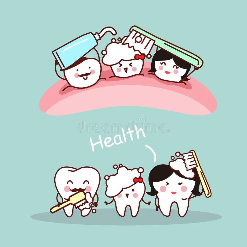 Famiglia felice del dente del fumetto illustrazione di stock