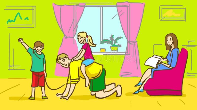 Famiglia felice del fumetto a casa Generi il gioco con i bambini, madre che si siede in una poltrona illustrazione vettoriale