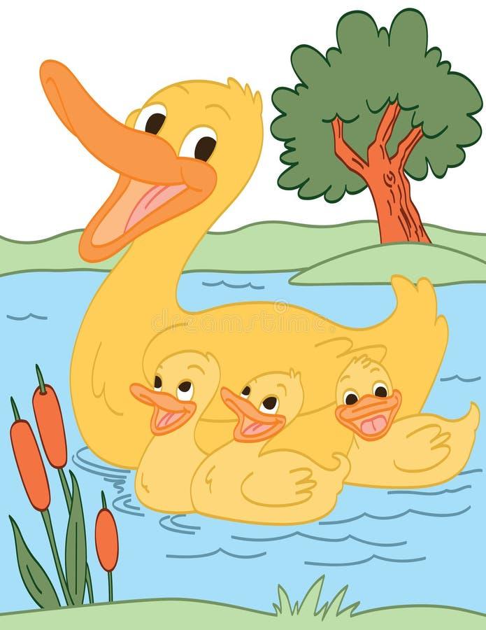 Famiglia felice dell'anatra illustrazione vettoriale