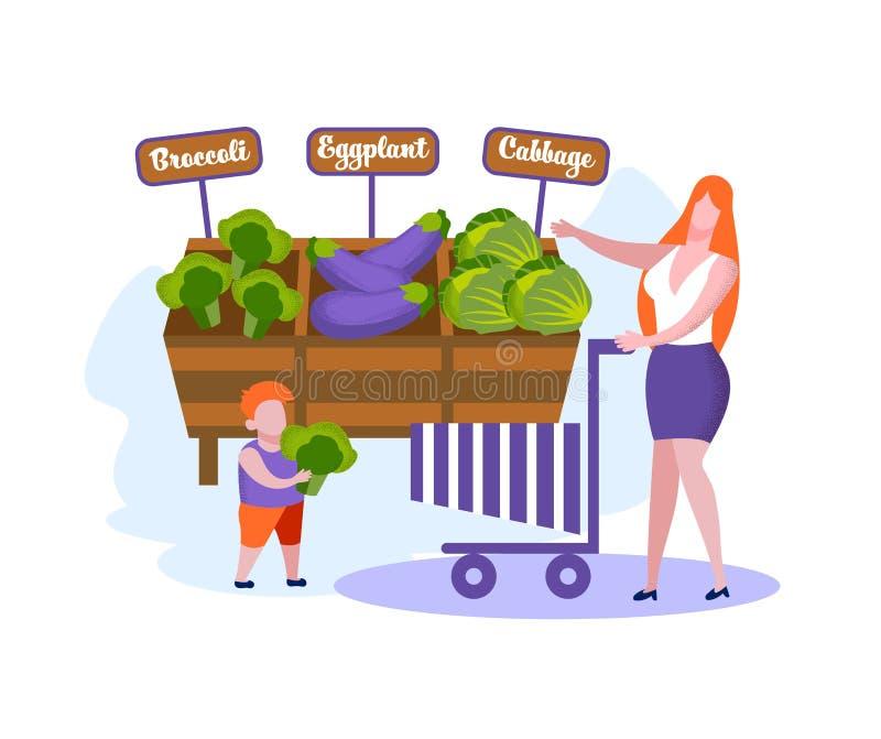 Famiglia felice della madre e di piccolo acquisto del figlio illustrazione vettoriale