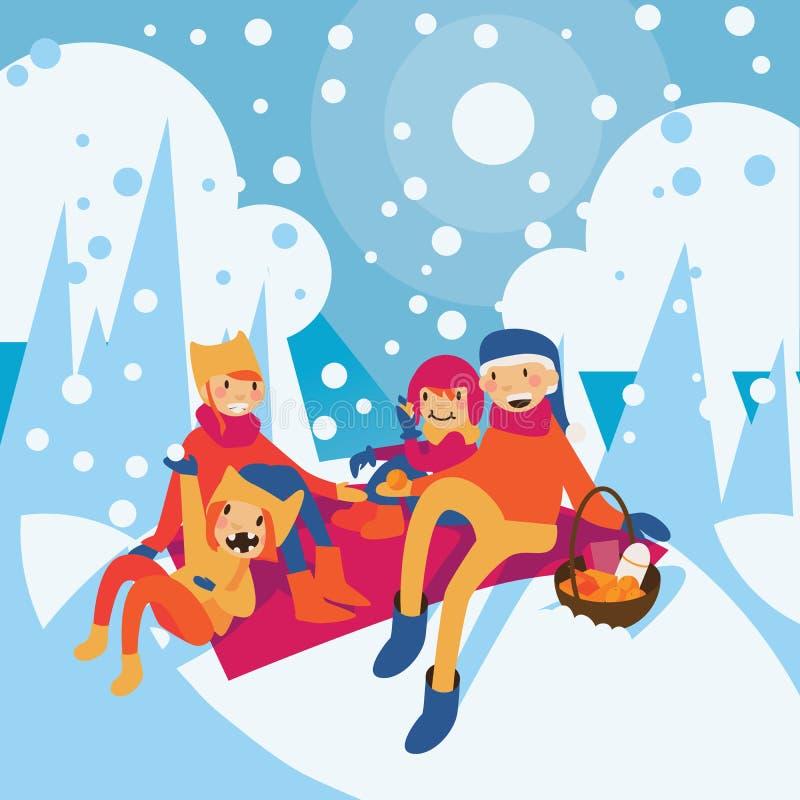 Famiglia felice della mamma, del papà e dei bambini aventi picnic alla foresta di inverno illustrazione vettoriale