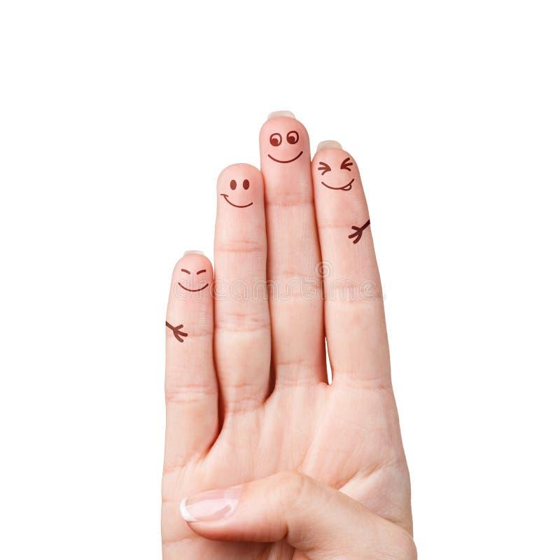 Famiglia felice delle dita fotografia stock libera da diritti
