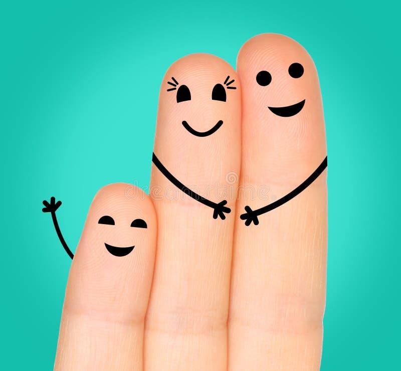 Famiglia felice delle dita fotografia stock