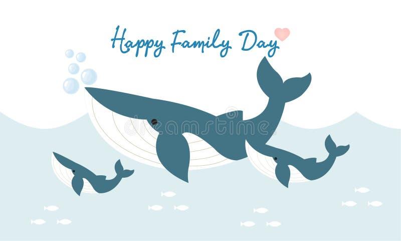 Famiglia felice dello squalo Carattere animale sveglio illustrazione vettoriale