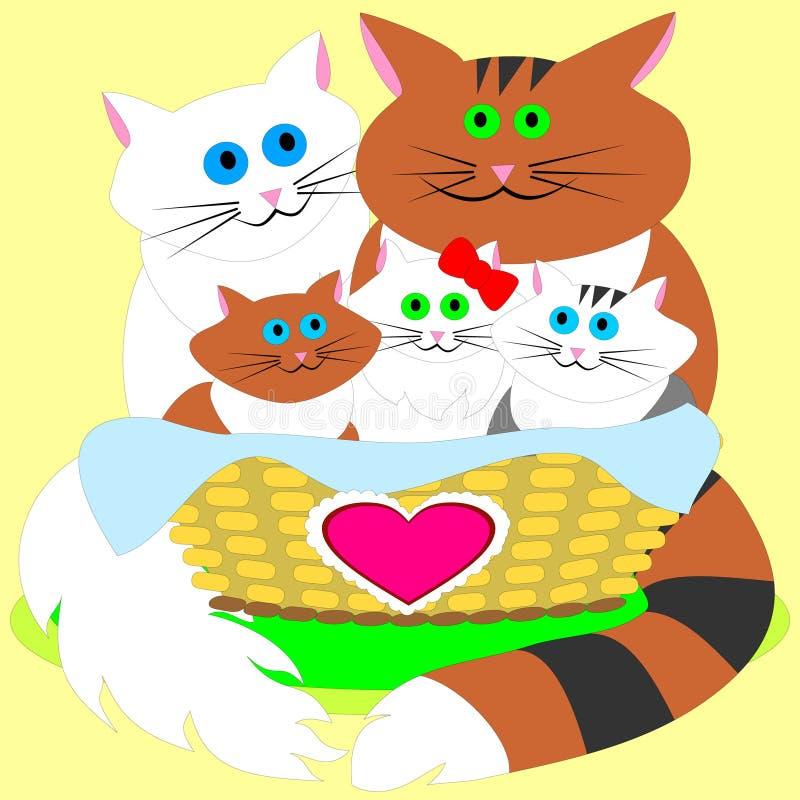 Famiglia felice di Catsâ royalty illustrazione gratis