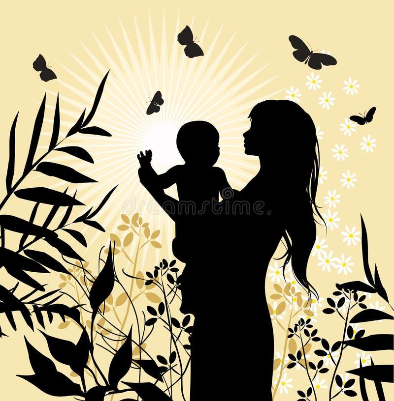 Famiglia felice - donne ed il suo bambino. illustrazione di stock