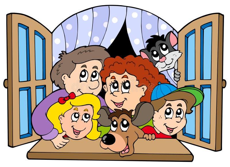 Famiglia felice in finestra aperta illustrazione di stock