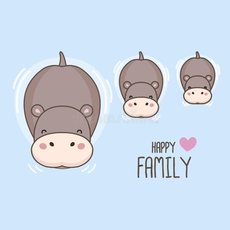 Famiglia felice Ippopotamo e nuoto del bambino nel fiume illustrazione di stock