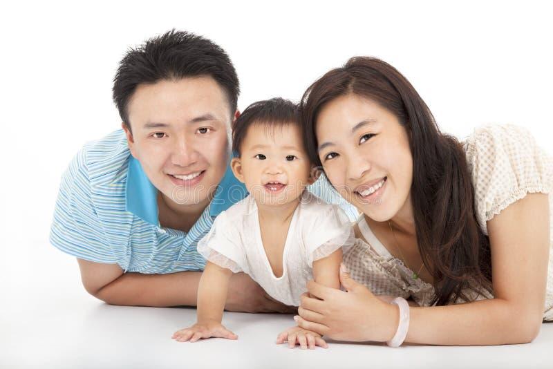 Famiglia felice isolata su bianco fotografia stock