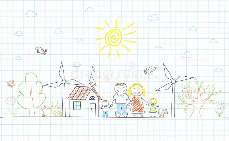 Famiglia felice - mamma, papà e due bambini illustrazione vettoriale