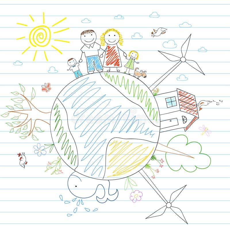 Famiglia felice - mamma, papà e due bambini su terra illustrazione di stock