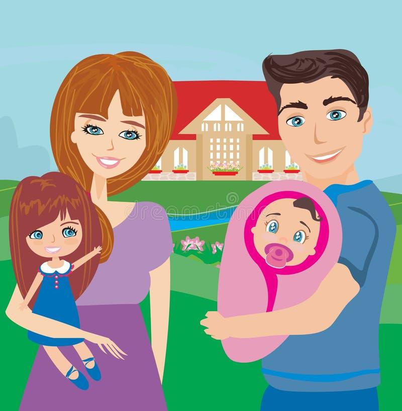 Famiglia felice in natura royalty illustrazione gratis