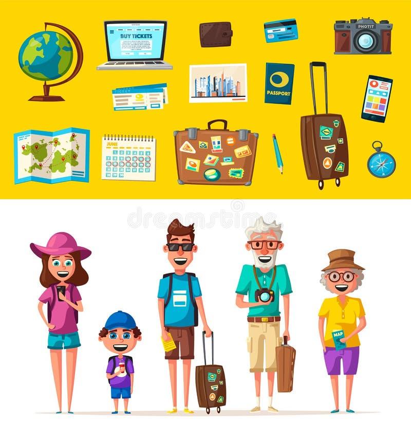 Famiglia felice nel viaggio Viaggio dei genitori e del bambino Illustrazione di vettore del fumetto illustrazione vettoriale