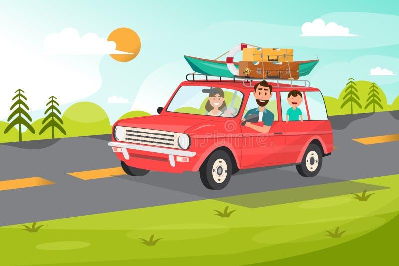 Famiglia felice Padre, madre e bambini andanti viaggiare in macchina con il fondo della natura illustrazione di stock