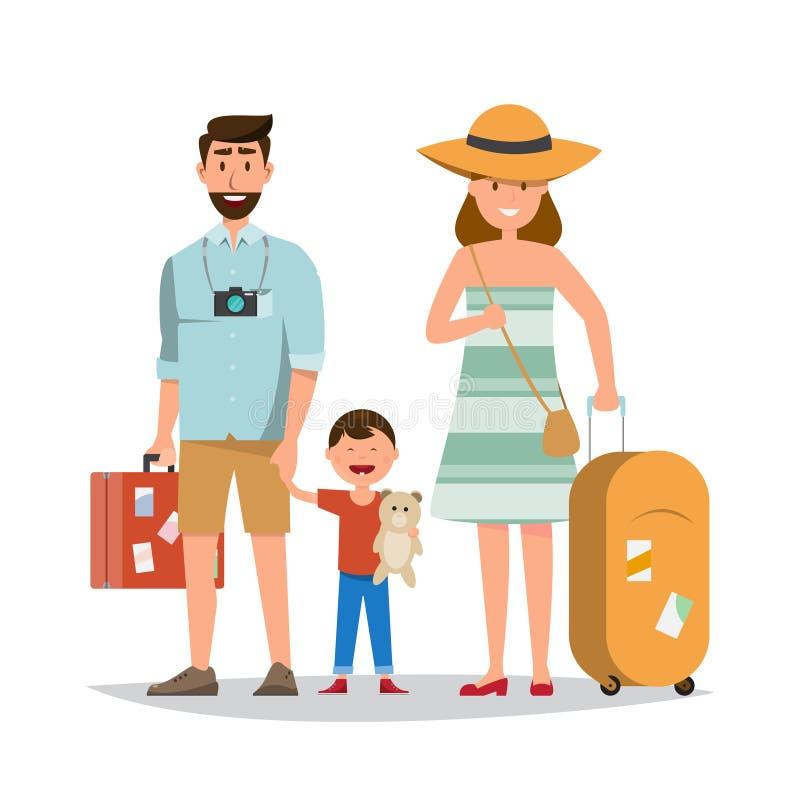 Famiglia felice Padre, madre e figlio insieme al viaggio di estate illustrazione di stock