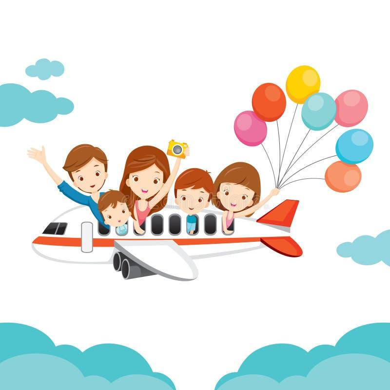 Famiglia felice sull'aeroplano illustrazione di stock