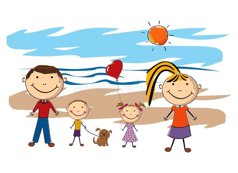 Famiglia felice sulla spiaggia royalty illustrazione gratis