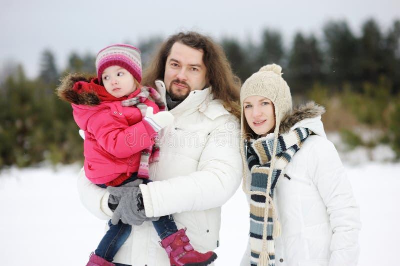Famiglia felice un giorno di inverno fotografia stock libera da diritti