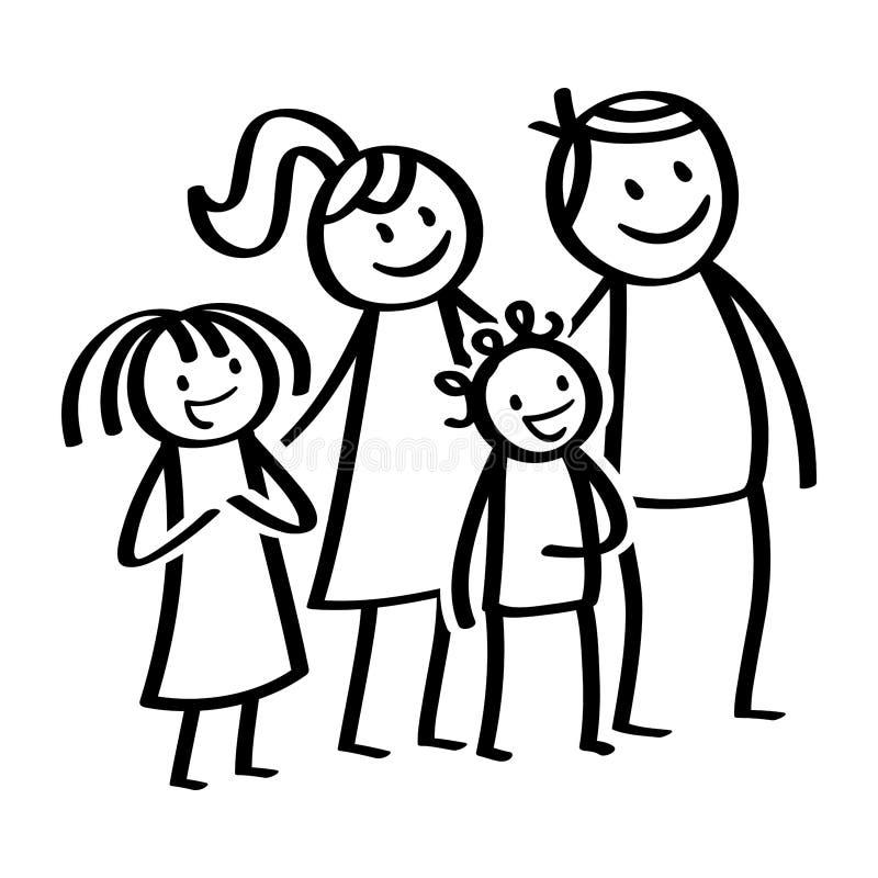 Famiglia, figure felici del bastone, genitori sorridenti con i bambini felici, derivato e figlio, stanti ed aspettanti illustrazione di stock