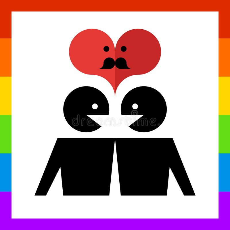 Famiglia gay amorosa dell'icona royalty illustrazione gratis