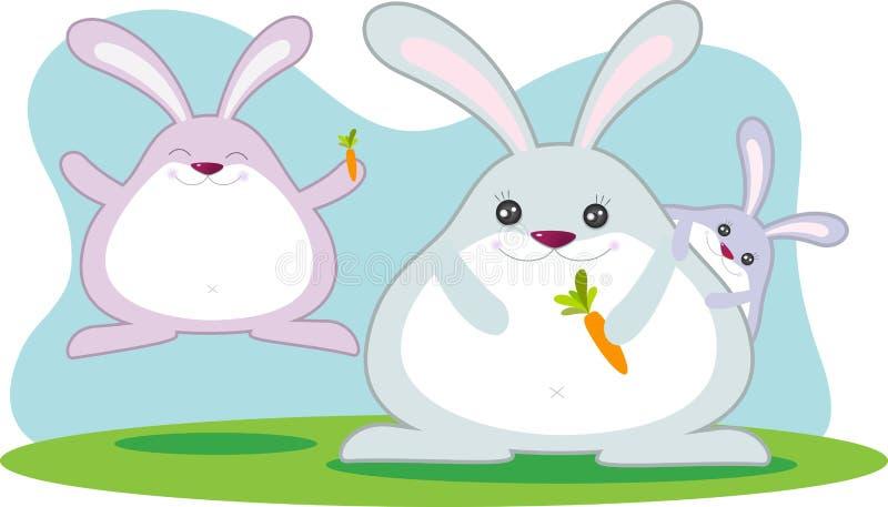 Famiglia grassa del coniglio illustrazione vettoriale
