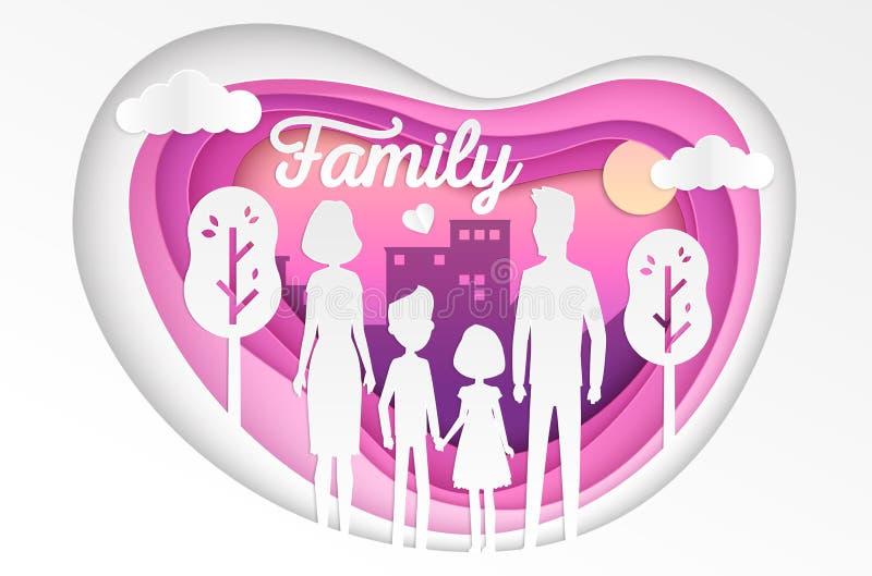 Famiglia - illustrazione moderna del taglio della carta di vettore illustrazione vettoriale