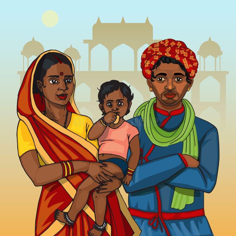 Famiglia indiana di rajasthani fotografia stock