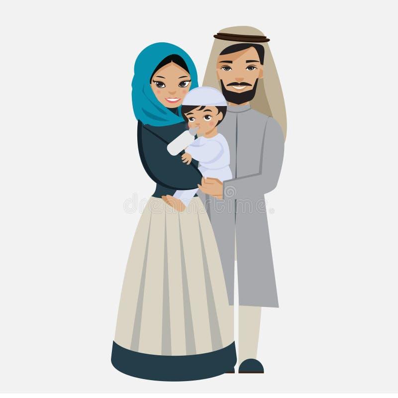 Famiglia musulmana felice con il bambino illustrazione vettoriale