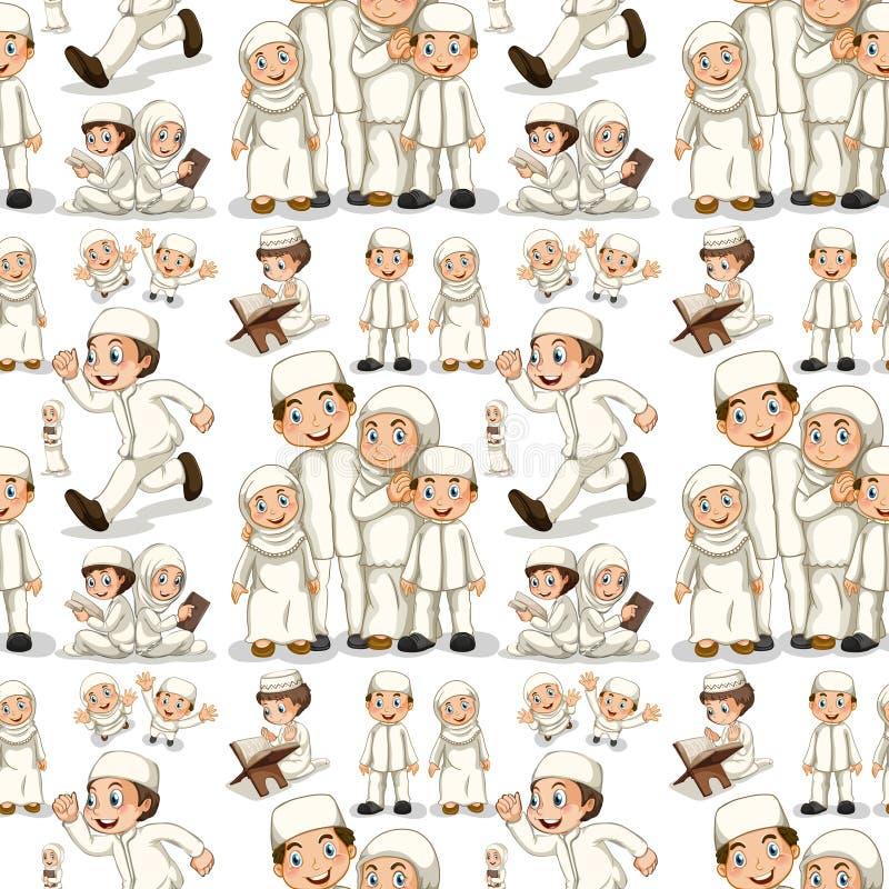 Famiglia musulmana senza cuciture in costume bianco royalty illustrazione gratis