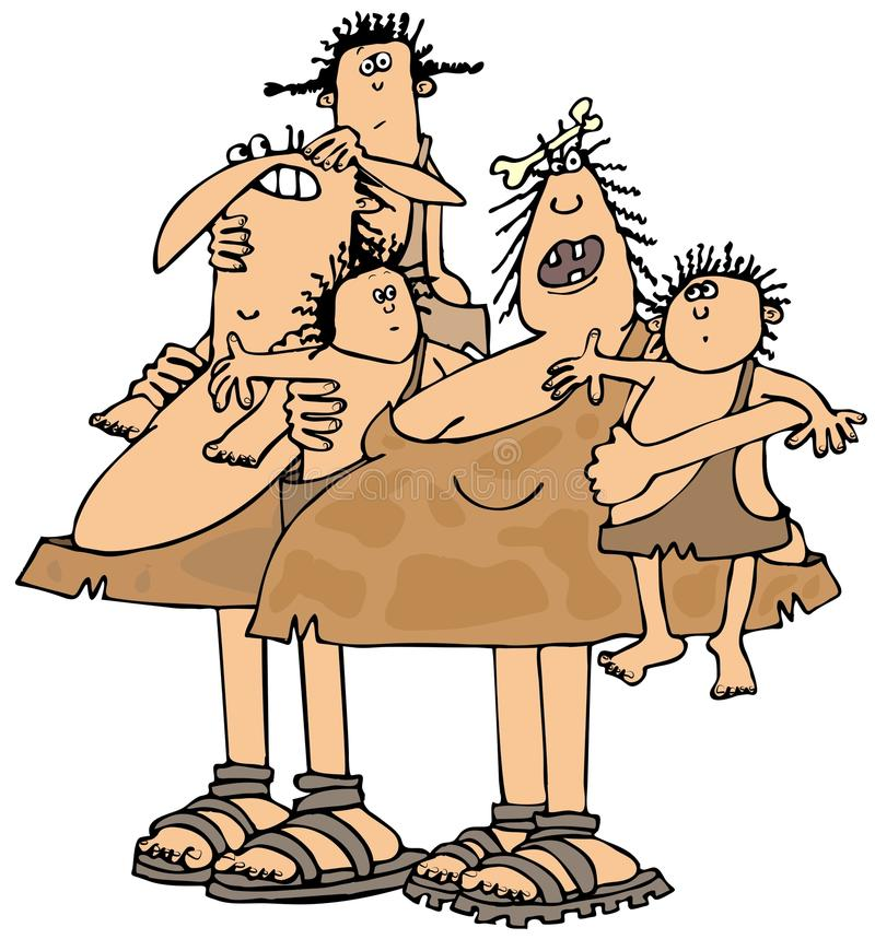 Famiglia neandertaliana royalty illustrazione gratis
