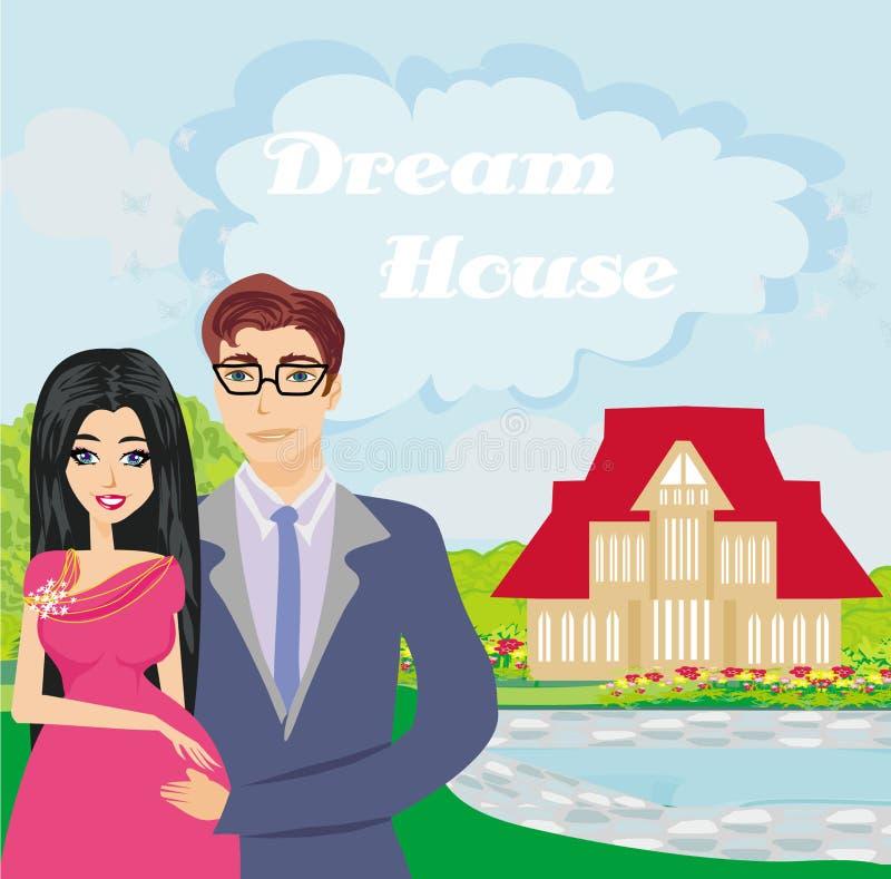 Famiglia nel giardino royalty illustrazione gratis