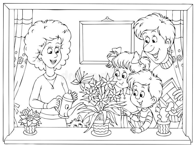Famiglia nel paese royalty illustrazione gratis