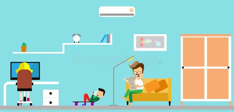 Famiglia nel paese Padre che legge un giornale bambini che giocano la console del gioco Personaggi dei cartoni animati di diverti royalty illustrazione gratis