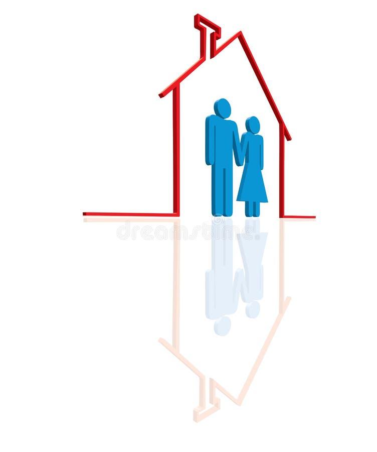 Famiglia nella casa illustrazione vettoriale
