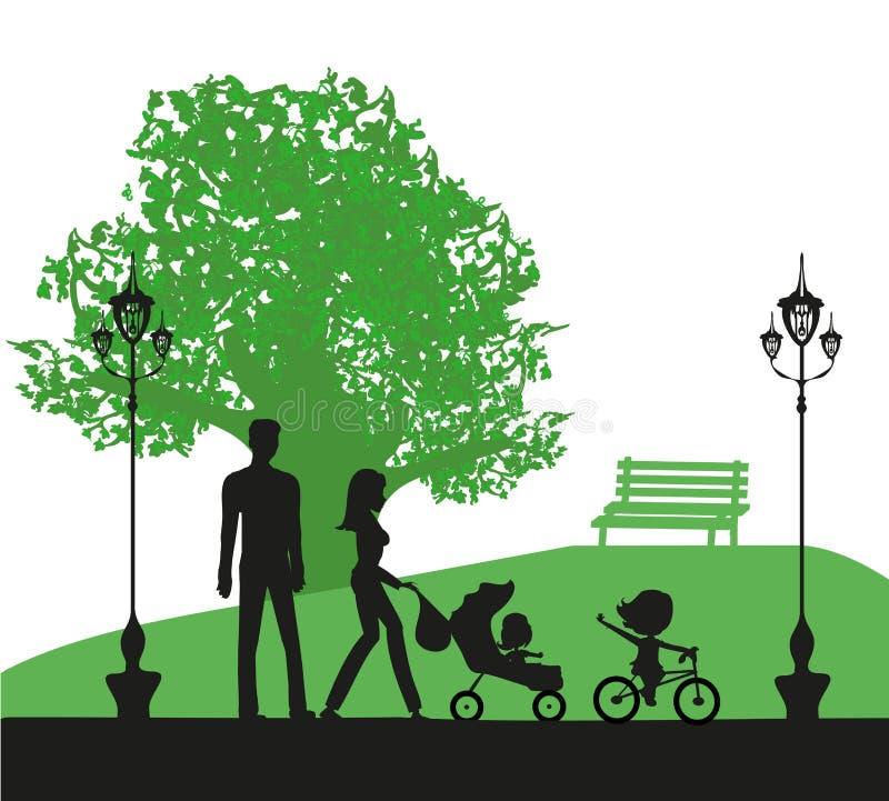 Famiglia nella sosta illustrazione di stock