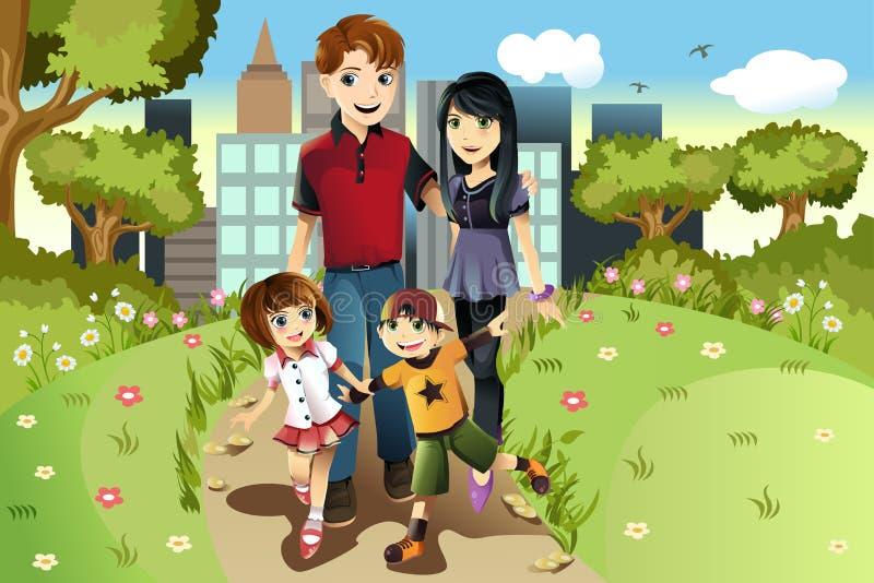 Famiglia nella sosta illustrazione vettoriale