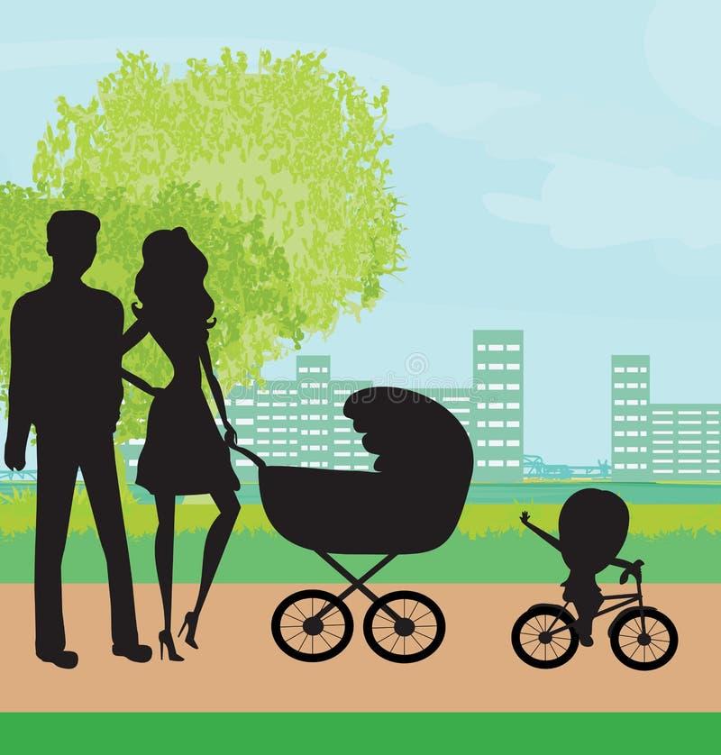 Famiglia nella sosta royalty illustrazione gratis