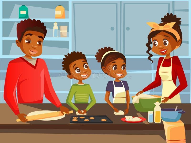 Famiglia nera afroamericana che cucina insieme all'illustrazione piana del fumetto di vettore della cucina dei genitori e dei bam illustrazione di stock
