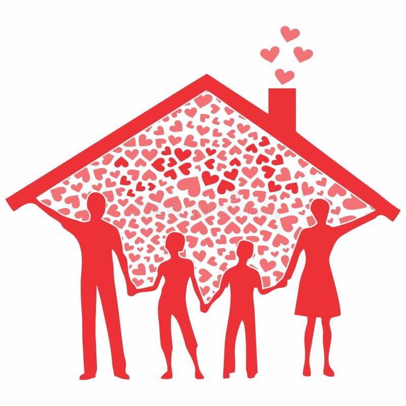 Famiglia in pieno colorata senza profilo royalty illustrazione gratis