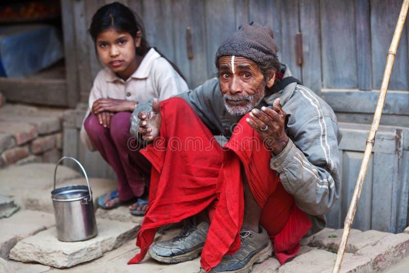 Famiglia povera nepalese fotografia stock