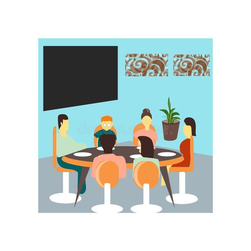 Famiglia pranzando insieme il segno e simbolo di vettore di vettore isolati su fondo bianco, famiglia pranzando insieme logo di v royalty illustrazione gratis