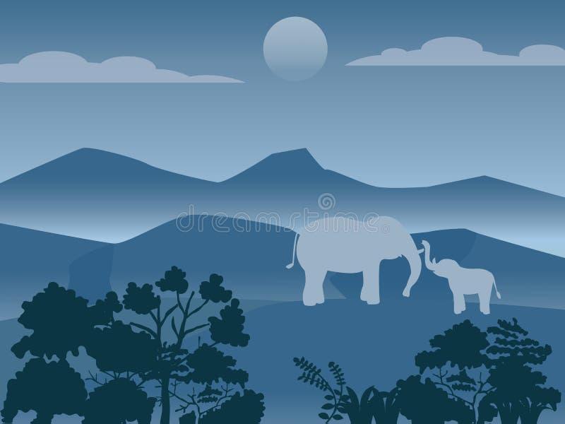 Famiglia selvaggia degli elefanti in foresta, immagine di vettore illustrazione di stock