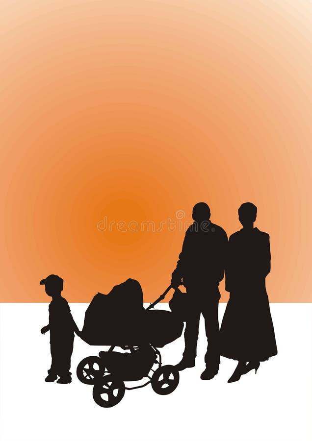 Famiglia-siluetta immagine stock