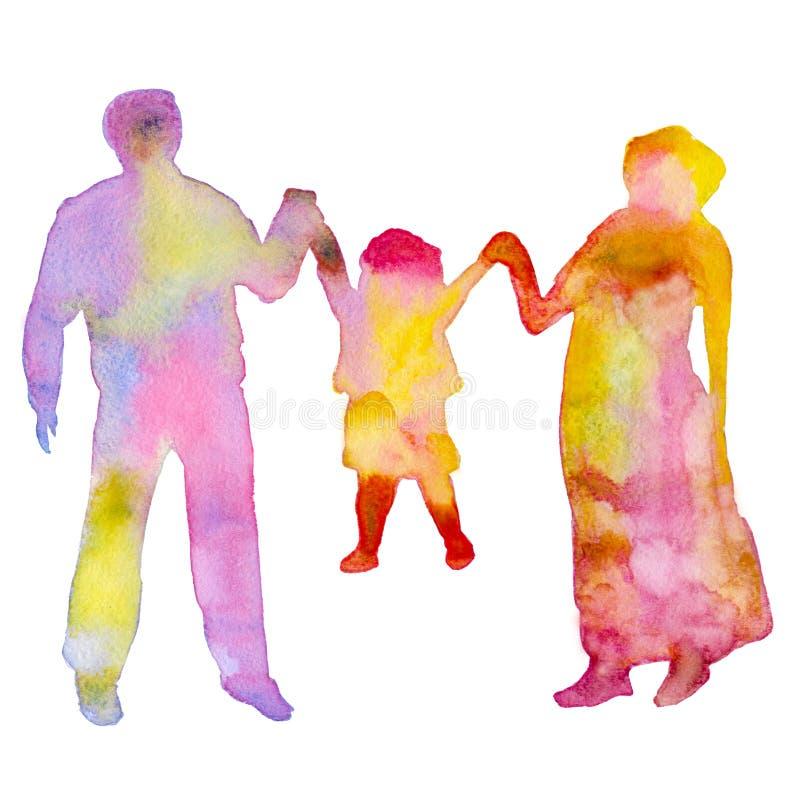 famiglia Siluetta colorata della gente Isolato su una priorità bassa bianca Illustrazione dell'acquerello illustrazione vettoriale