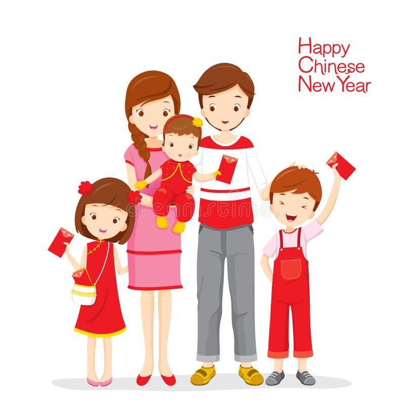 Famiglia soddisfatta delle buste rosse illustrazione vettoriale