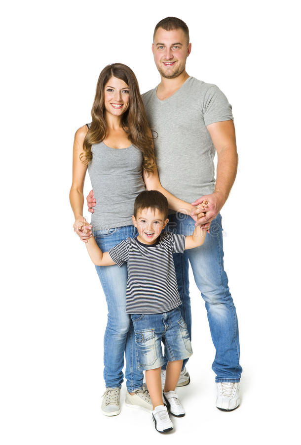 Famiglia sopra fondo bianco, genitori felici con il bambino, tre immagine stock