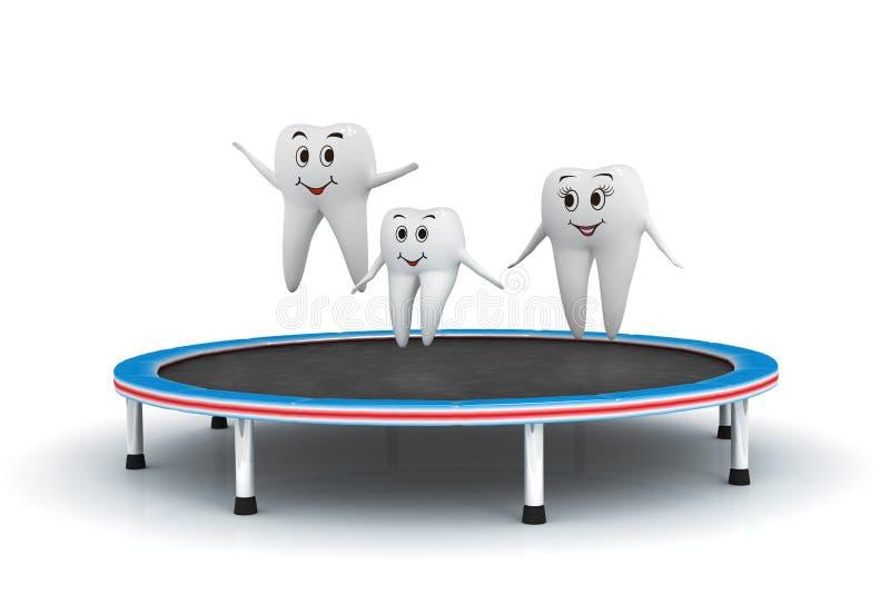 famiglia sorridente del dente 3d che salta sul trampolino illustrazione vettoriale