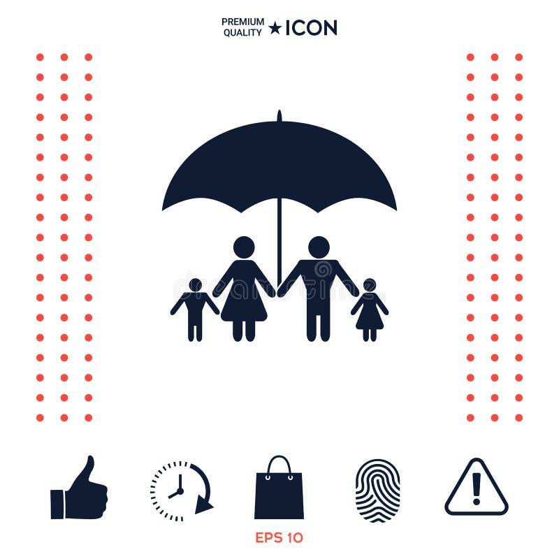 Download Famiglia Sotto L'ombrello - La Famiglia Protegge L'icona Illustrazione Vettoriale - Illustrazione di sicuro, figlia: 117975024